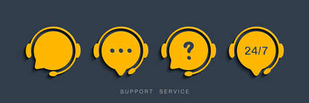 Customer Support Service. Chat vector icons. Call center symbols. Headset symbols. Hotline concept. Vector illustration Иллюстрация