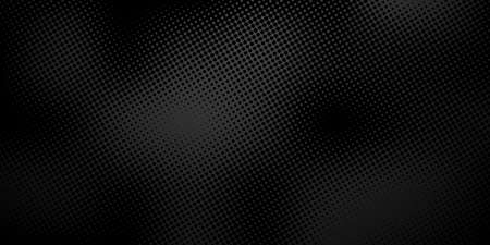 Black background with halftone dots. Abstract background. Vector illustration