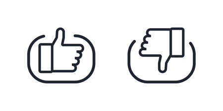 Like and dislike icons. Thumb up and down vector icons. Line design. Vector illustration