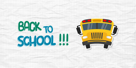 Back to school text with Bus on checkered background. Crumpled sheet of paper. Vector illustration