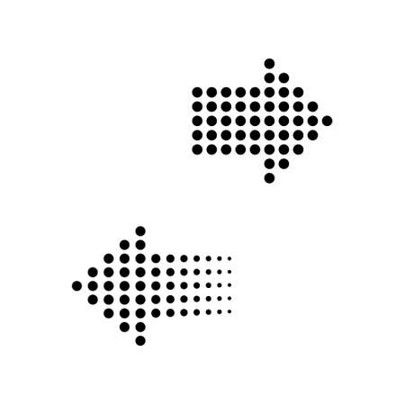 Arrows dots in flat design. Arrow black. Halftone effect. Two arrows, isolated. Vector illustration