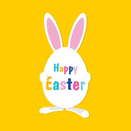 Easter Rabbit with egg. Happy Easter. Easter Bunny with egg and color text. Vector illustration