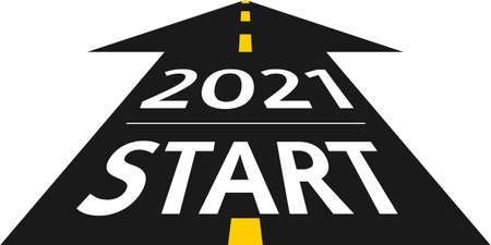 2021 start concept. New Year 2021 on the road in the form of an arrow in flat design. Vector illustration