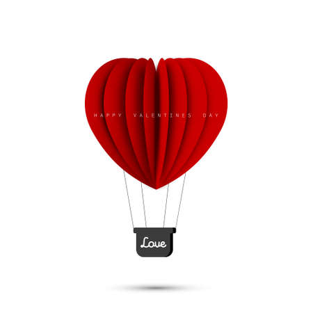 Love concept. Valentines Day. Air balloon in heart shape. Paper art and origami design. Illustration of the Love. Vector illustration 矢量图像