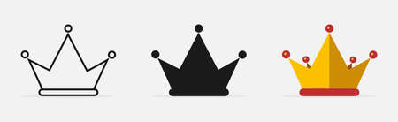 Crown vector icons. Crown in different designs. Crown logo. Vector illustration