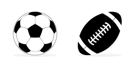 Soccer and american football balls icons. American and soccer balls in icon design. Sport concept. Vector illustration