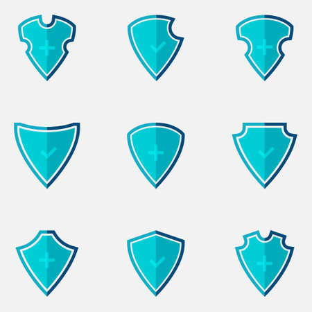 Shield vector icons. Shield different shapes in flat design. Shields, isolated. Vector illustration