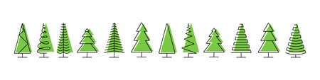 Trees pines vector icons. Trees icons in a row, isolated. Panorama view. Christmas tree in line flat design. Vector illustration 矢量图像