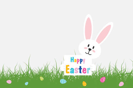 Easter Bunny. White Rabbit with easter eggs and text Happy Easter on light background with grass. Vector illustration Иллюстрация