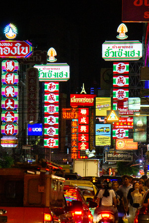 China Town, Bangkok, Thailand - September 6,2019 : CHINA TOWN one of landmark for Thailand called night street food and gold market area in Thailand at Yaowarat road. Most popular sightseeing for Thai and foreigner traveler. Редакционное