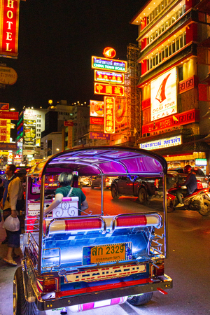 China Town, Bangkok, Thailand - September 6, 2019 : CHINA TOWN one of landmark for Thailand called night street food and gold market area in Thailand at Yaowarat road. Most popular sightseeing for Thai and foreigner traveler.