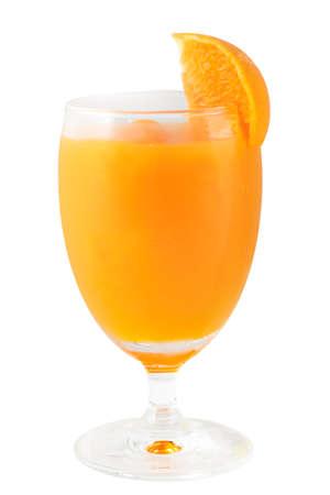 Fresh Orange juice in goblet glass on white