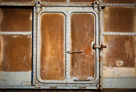 Door with old train in chiangmai railway station. photo