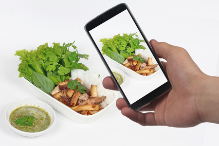 mixed vegetables: Friend using smart-phone to take photo roll noddle served with fried tofu and mixed vegetables for share to social network.