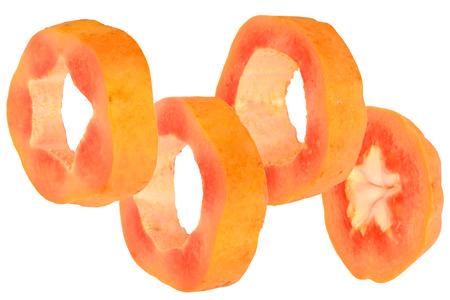 nourish: Sliced sweet papaya on white background. Stock Photo