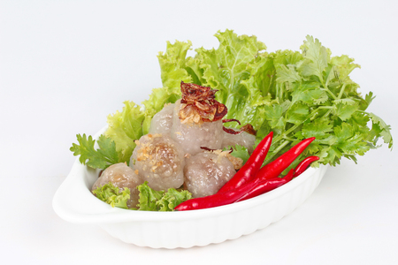 Steamed sago with pork and mixed vegetable. Selective focus Stock Photo
