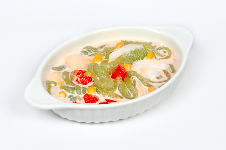 fulfill: Mixed desserts in coconut milk as RuamMitr in Thai or friend together in English on white background.