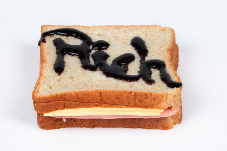 richness: The richness sandwich served. Are you ready to eat ?.  Selective focus.