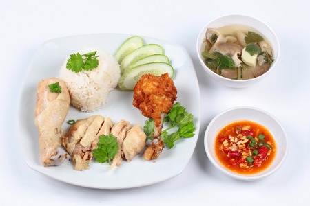 soy bean: Streamed oily rice and streamed chicken as Hainanese chicken rice and deep fried chicken served with spicy soy bean sauce and mushroom soup.