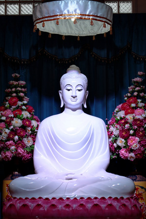 jade buddha temple: White Jade Buddha on lotus statue,Thailand.