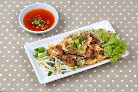 bean sprouts: Fried oyster with bean sprouts and shallot as Hoi Tod in Thai served with chili sauce. Side View