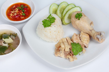 soy bean: Streamed oily rice and streamed chicken as Hainanese chicken rice s with spicy soy bean sauce.
