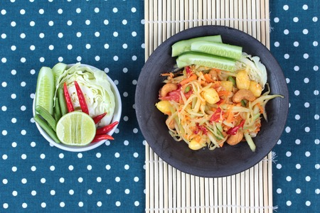 Vegetable festival as  spicy papaya salad with mixed vegetable call Som Tum J is organic food served.