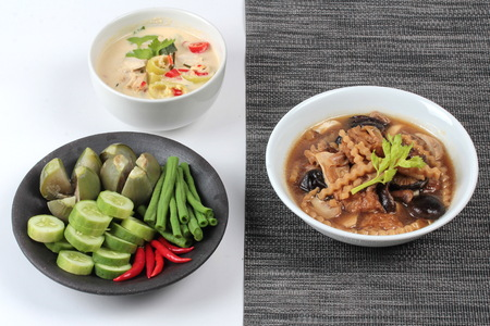 mixed vegetables: Organic Thai recipe as coconut milk and fermented soy bean sauce call Toa Jiaw Loan J  with mixed vegetables  and brown soup mixed vegetable and tofu sheet are in Chinese  vegetable festival  style.