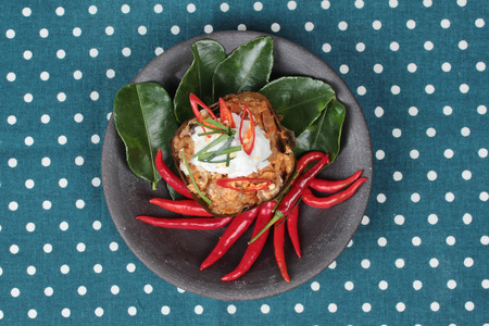 vegetable curry: Streamed vegetable curry in banana leaf cup call Hor Mok J is spicy Thai organic food. Stock Photo