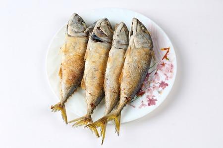Thai food,Deep fired streamed - mackarel on dish.