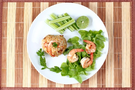 sesame street: Fried rice with shrimp call Khao Pad Kong in Thai Stock Photo
