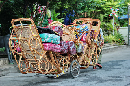 basketry: Chapman folk basketry furniture dragged by the wayside at Bangkok,Thailand