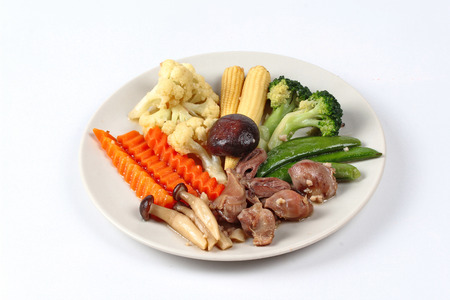 Fried mixed vegetables with chicken hearts-gizzard-liver.