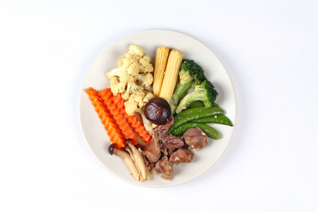gizzard: Fried mixed vegetables with chicken hearts-gizzard-liver.