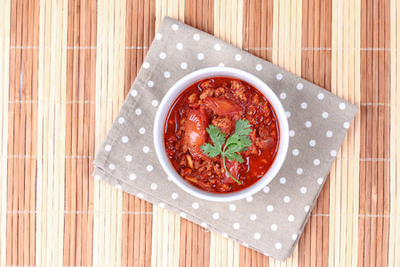 Spicy meat and tomato dip as Nam Prik Ong in Thai ,Northern style chili and tomato dip