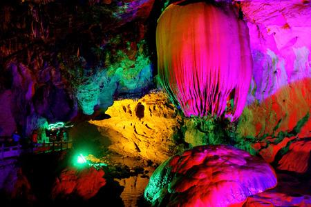 Colorful and beatiful refection of pool in Paya Dragon Cave ,LongWangTong ,Hunan ,China