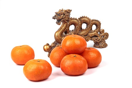 Golden orange and golden dragon on white background, to celebrate the blessing. According to the beliefs of the in China. To give life and trade flourished. Stock Photo