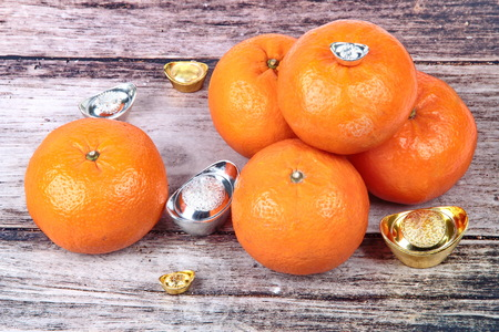 Golden orange with silver and gold of silver ingots on wood, to celebrate the blessing. According to the beliefs of the in China. To give life and trade flourished. Stock Photo