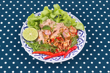 pla: Thai food , Spicy and sour mixed vegetable salad with tuna served ,call Pla Tuna in Thai. Stock Photo