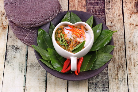Thai food , Streamed fish curry in Heart-shaped cup call  Hor Mok Pla in Thai . Stock Photo