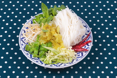 bean sprouts: Thai food ready served , Rice noodle and minced pickle lettuce,sliced cabbage and wing beans Stock Photo