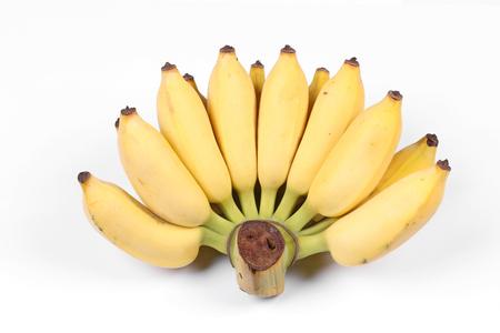 platanos fritos: Plátano cultivado amarillo, Maduro cultivado banana llamada Kluai Nam Wa en tailandés aisladas sobre fondo blanco.