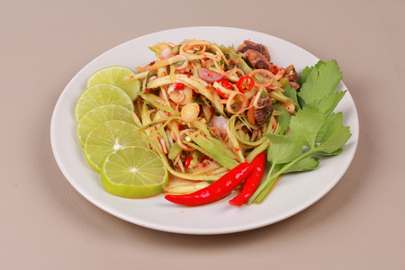 Homemade,Spicy sour minced mango salad with soft-boiled blood cockles shell as minced green mango,red chili,green lemon,shallots,parsley,peppermint ,red onion and lettuce is popular Thai food.