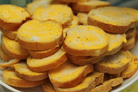 Homemade cooking ,Crispy butter toast .