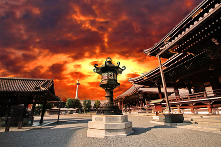 ฺBeautiful sky and Japanese pattern of Iron lamp at center of terrace  ,Higasgi-hongaji temple, Kyoto.