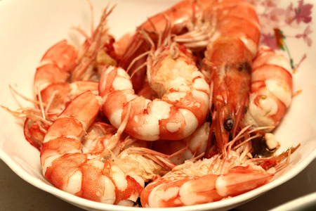 Bolied fresh shrimp,prawn ready served and for cooking Stock Photo