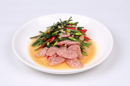 popular soup: Thai recipe,Fried Chinese chives with Thai sour sausage .
