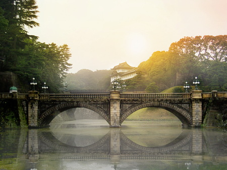 Meganebashi Brigde  and Nijubashi brigde at Tokyo Imperial Palace on mooring shine.