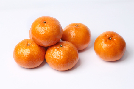 Mandarin-Honey Murcott oranges  on white background,Golden orange to celebrate the Chinese festival.  Stock Photo