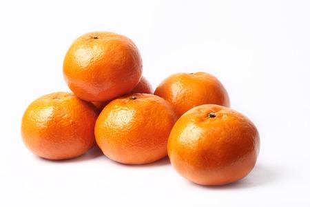 Mandarin-Honey Murcott oranges  on white background,Golden orange to celebrate the Chinese festival.  Stock Photo